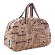 Fashion Waterproof Oxford Women bag Newspaper Pattern Travel Bag Large Hand Canvas Luggage Bags