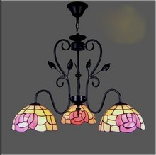 tiffany style pink flower pendant light 3 heads dining bed room lamp(China)