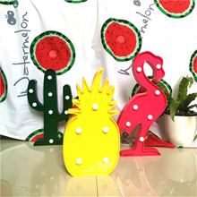 Lumiparty Cute 3D Flamingo Pineapple Cactus Night Light Plastic LED Lamp Lights Kids Room Bedroom Bedside Lamp Party Home Decor