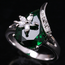Terrific Pear Green Cubic zirconia Gems 925 Sterling Silver Jewelrys For Women's Rings US# Size 6 7 8 9 S1602(China)