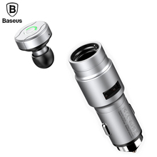 Baseus 2-in-1 Multifunction Car Charger Adapter with Mini Wireless Bluetooth Earphone Car Mount Phone Charger USB Car-Charger(China)