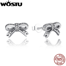 Genuine 100% 925 Sterling Silver Sparkling Bow Stud Earrings With Clear CZ For Women Compatible with WOS Jewelry Gift
