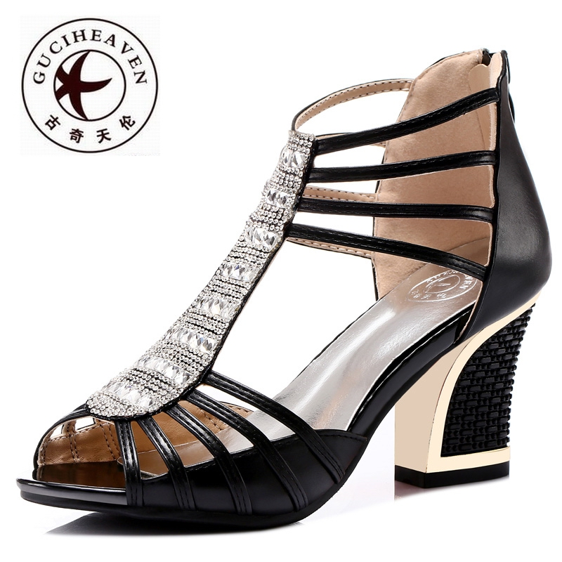 Guciheaven Morden Women Rome Sandals,Brand Leather Ankle Wrap Shoes,Summer Rough High Heels Shoes,Rhinestone Peep Toe Sandals<br><br>Aliexpress
