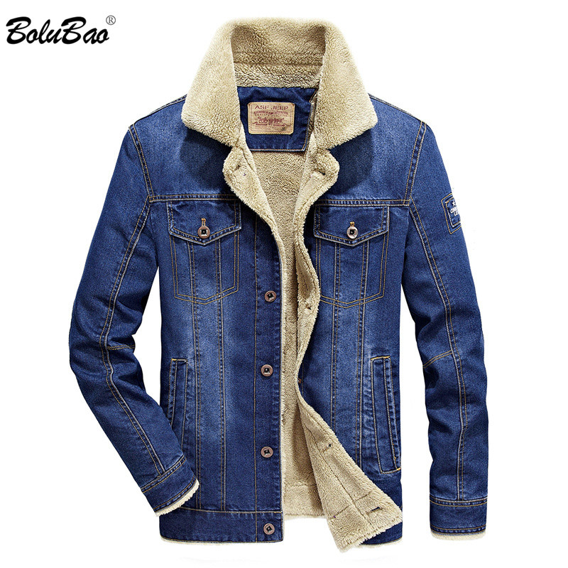 Mens boys winter thick denim jacket coat fur liner fleece denim Jacket outwear