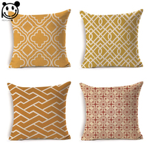 PEIYUAN Manufacturers Customized Cushion Cover Wholesale High Quality Pillow Case Yellow Stripes Geometric Shapes Pillow Cover(China)