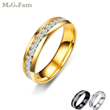 M.G.Fam Fahion Ring Men jewelry Titanium Steel 316L Black /Gold/White No Change Color 7/8/9/10/11/12(China)