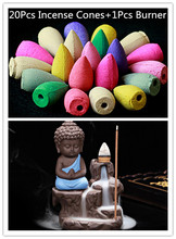 20Pc Incense Cones + Burner Creative Home Decor The Little Monk Small Buddha Censer Backflow Incense Burner Use In Home Teahouse(China)