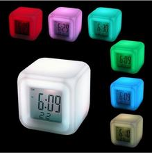 7 Colors Change LED Digital desk Alarm Clock Mini talking Electronic Table Watch Nixie Bedside radio Lamp Clock For kids(China)