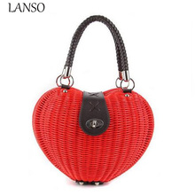 Brand New Waterproof Rattan Woven Straw Knot Wrapped High Quality Heart-Shaped Shell Peach Woven Bag Female Woven Casual Handbag(China)