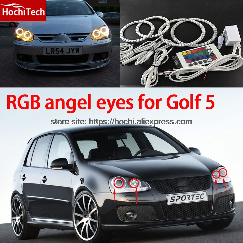 HochiTech RGB Multi-Color LED Angel Eyes Halo Rings kit super brightness car styling For Volkswagen VW Golf 5 V MK5 2003-2009<br>