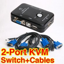 1Set USB 2.0 KVM Switches 2 Port Switch Splitter Box PS/2 Controller + 2 VGA SVGA Cable MONITOR VIDEO