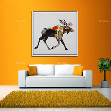 Abstract Animal Goat Artist New Design Oil Painting For Wall Decoration Abstract Goat Oil Painting For Friend Unique Gift(China)