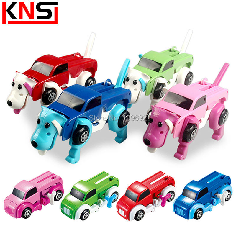 4 Colors Windup Automatic transform Dog Deformation Clockwork Car Vehicle Wind-up Toys For Children Wind Up Christmas Kids Gifts(China (Mainland))