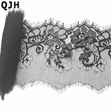 (13cm Width) 3 meters Black Eyelash Lace Trim DIY Sewing Applique For Lace Dress French Chantilly Net Lace Fabric