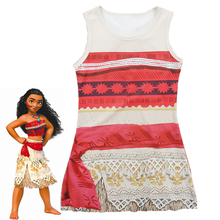 2017 New Cartoon Moana girl dress Kids princess shirt dress Moana cosplay costume 3-9 Year