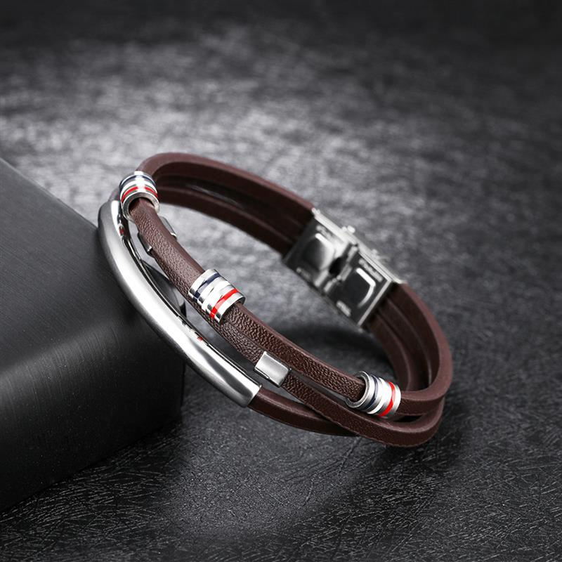 Jiayiqi New Fashion Brown Leather Bracelet for Men Jewelry Stainless Steel Silver Beads Bangles Vintage Male Accessories Gifts