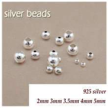 925 sterling silver 10pcs/lot smooth silver round double holes beading beads bracelet gold spacer beads diy jewelry making