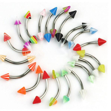 10Piece 16G Acrylic Ball Spike eyebrow ring Stainless Steel Eye Rings mixed colors body piercing jewelry