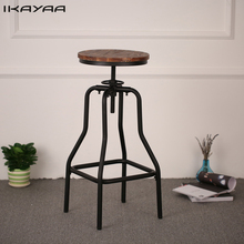 iKayaa FR Stock Height Adjustable Swivel Bar Stool Natural Pinewood Top Kitchen Dining Chair Taburete Industrial Style Furniture