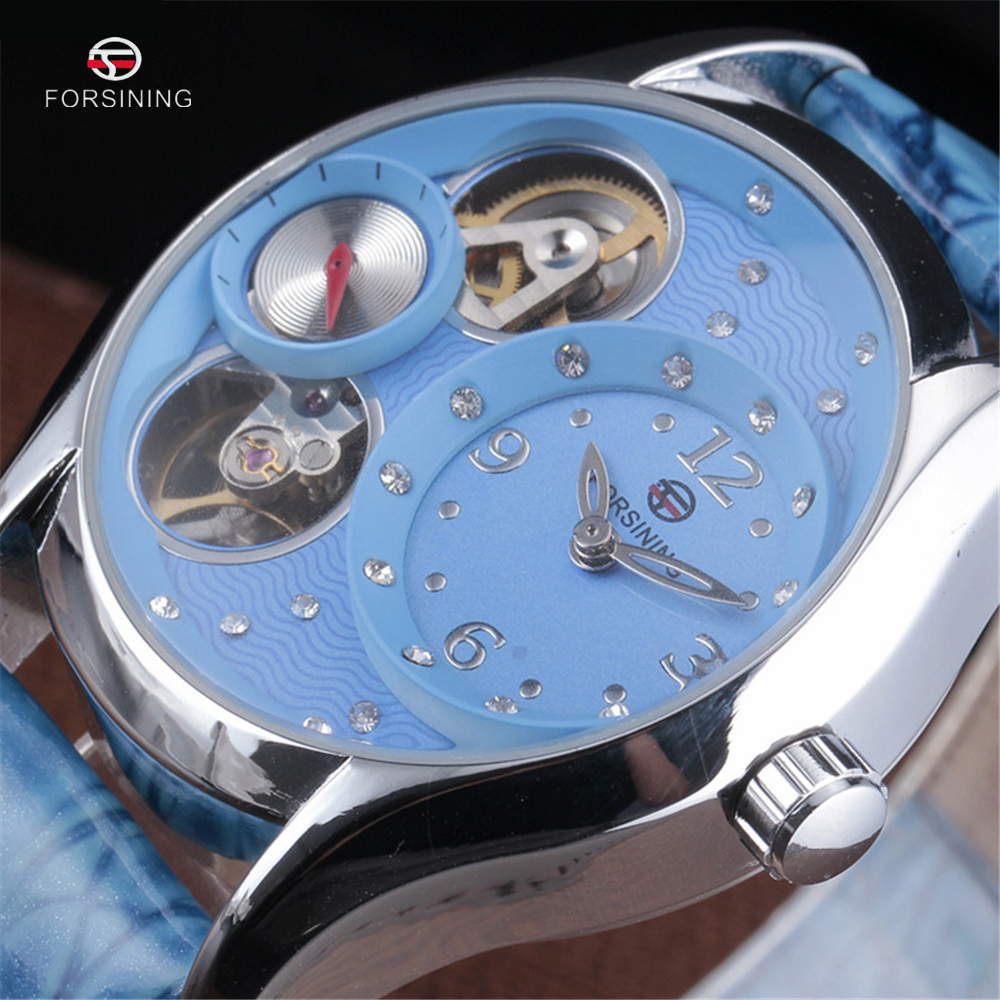 FORSINING Ladies Dress Automatic Wristwatches Women High Quality Clock Blue Leather Diamond Design Skeleton Mechanical Watches<br><br>Aliexpress