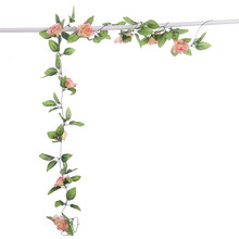 DIY Artificial Rose Garland Flower Vine for Home Wedding Floral Decoration 8 Color  1Pcs