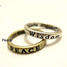 Copper Bronze Hope Love Peace Luck Free Courage Wisdom Belief Restoring Ancieimple Retro Lettering Wishing Ring R532*2 R539*2