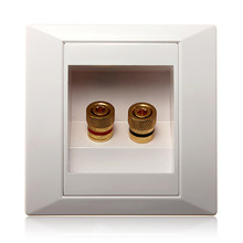 2 Binding Post Banana Plug Gold Plated Audio Jacks Wall Plate Panel Two Speakers Interface 86mm x 86mm(China)