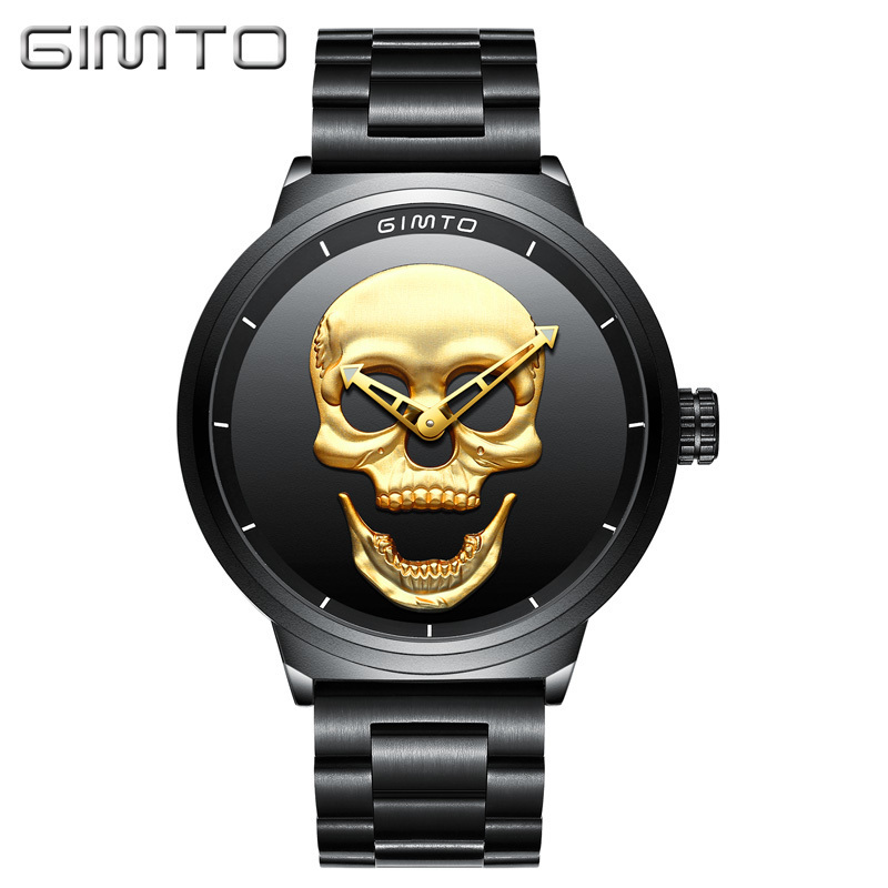 GIMTO Skull Black Full Steel Vintage Mens Wrist Watches Gold Watch Men Waterproof Clock Casual Quartz Watch Relogio Masculino<br>