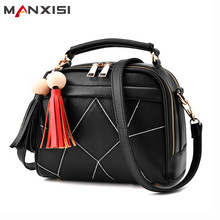 MANXISI Brand Small Crossbody Bags for Girls Black Leather Messenger Bag Women Zipper Soft Tassel Bag Single Shoulder Bag Flap