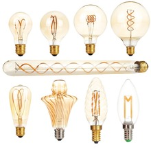 Dimmable E27 AC 220V LED Edison Light Bulb Retro Carbon Lamp A60 T30 G80 ST64 G95 G125 Vintage Tungsten Indoor Lighting Decor(China)