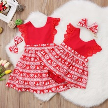 Christmas Baby Girls Romper Dresses Kids Red Yellow Xmas Lace Ruffled Romper Dress Party Dresses Headband Outfits Clothes 0-6Y(China)