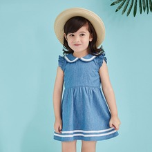2017 Baby Girls Denim Dress Summer Clothes Toddlers Cute Kids Jean Dresses Navy Style Litte Toddlers for age 23456 Years Old