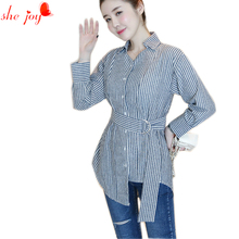 Novelty Female Long Design Irregular Blouse V Neck Trendy Blouses Women Blusa Tunic Camisa Femme Belt Sashes Shirt Clothings