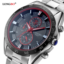 2016 Fashion Luxury Brand LONGBO Stainless Steel Sports Business Style Analog Quartz Watches Waterproof Wrist Mens Watches 80007