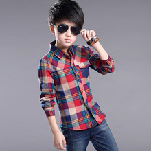 Age 4-14Y 2016 New Arrival Autumn Kids Long Sleeve Plaid Baby Boys Clothes Shirt Casual Turn-down Collar Shirts Tops JW0177(China)