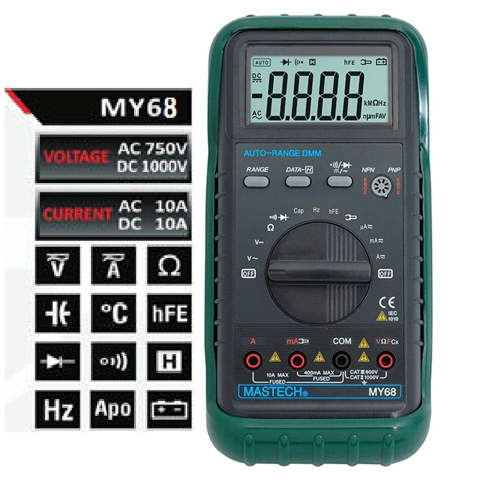 MASTECH MY68 New Digital Multimeter Electronic handheld multimeter 3 3/4 LCD 3999 Counts Auto Ranging AC DC Digital Multitester<br>
