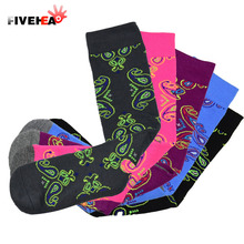 New white polyester socks soft comfortable Sport socken floral printed socks pink green warm sock size 39-45 short sock sox(China)