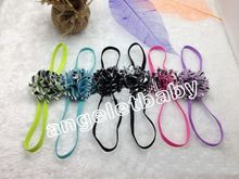 "12pcs Fashion Princess Headbands Hair Things 2"" zebra Flower Accessories Kids Elastic slender rubber band PJ5243"
