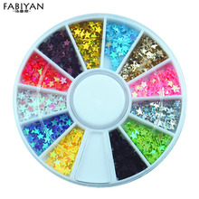 12 Colors 3D Plastic Sequins Star Glitter Sticker Wheel DIY Nail Art Polish Tips Decorations Accessories Manicure Jewelry Tools(China)