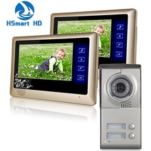 2 Units Apartment Intercom Entry System Wired Touch key 7'' Monitor Audio Video Door Phone