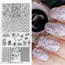 NEW Nail Art Printing Stamping Template Medium Size Stamp Plates Image Transfer Leaves Nature Garden Butterfly Flowers