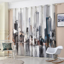 3D watercolor digital printing oil painting pattern balcony  bedroom window curtain blackout rideaux finished products