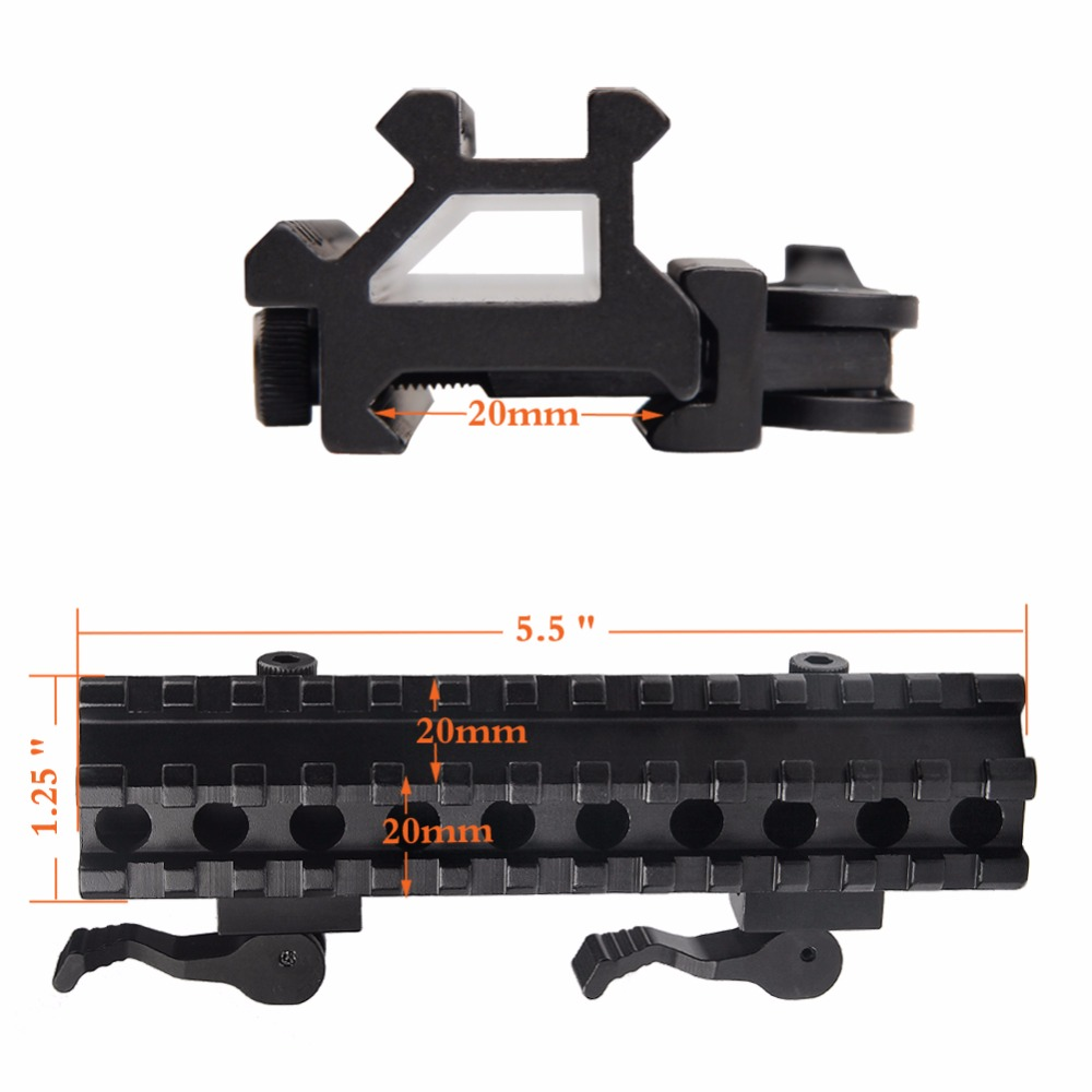 Airsoft Long Quick Detachable Double Rail Angle Weaver Picatinny Mount Integral QD Lever Lock System 13 Slots For Hunting RL1-0012-9