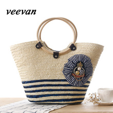 veevanv spring 2016 hot new fashion personality unique design Navy Stripe badge portable Straw Beach Bag woven bag