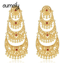 OUMEILY Gold Color Retro Chandelier Filigree  Charms Bohemian  Long Drop Earrings For Women Luxury Wedding Jewelry