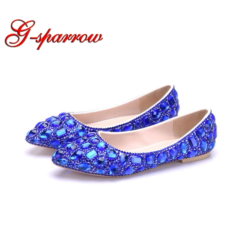 2018 New Arrival Spring Summer Crystal Wedding Shoes Flat Heels Pointed Toe Mother of the Bride Shoes Big Size 42 43 Blue Gold