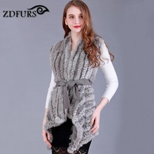 ZDFURS * Women Genuine Knitted Rabbit Fur Vests with belt sweater Waistcoat wholesale drop shipping(China)