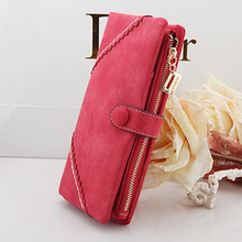 2017 New Fashion Women Wallets Drawstring Nubuck Leather Zipper Wallet Women's Long Design Purse Two Fold More Color Clutch(China)