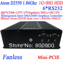 smallest desktop computer with 6 COM Fanless Intel D2550 dual core GMA36001.86Ghz NM10 2 RTL8111E Gigabyte Nic 1G RAM 80G HDD