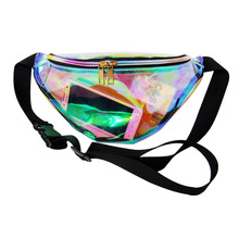Designer laser hologram transparent waist packs casual travel waist bag waterproof PVC jelly bags small unisex summer beach bag